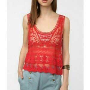 Urban Outfitters Crochet Lace Tank Top Sheer Red